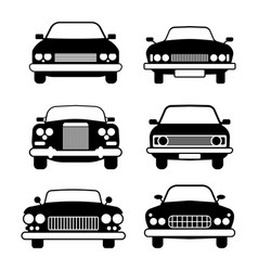 Set of different car symbols front view vector