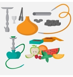 Set of hookah icons waterpipes charcoal and vector