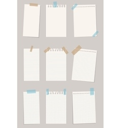 Set of various note papers vector image vector image