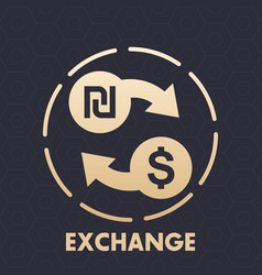 shekel to dollar exchange icon vector image vector image