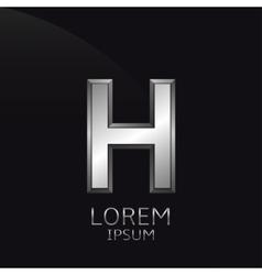 Silver h letter emblem vector