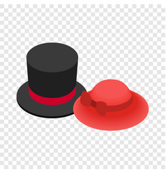 top hat with red ribbon and red female hat icon vector image vector image