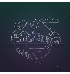 Whale and mountains landsape on dark background vector