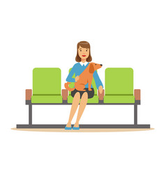 Woman sitting in waiting hall with her pet dog and vector