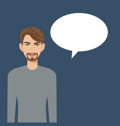 Young man beard bubble speech icon vector