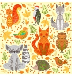 Forest animals covered in crative ornaments vector
