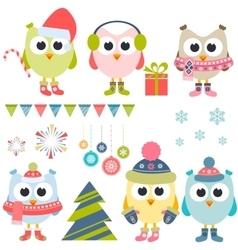 Set of christmas owls in winter vector