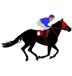 jockey riding race horse vector image