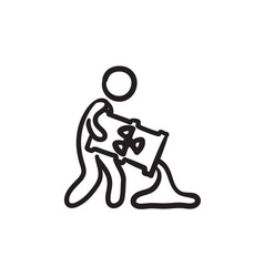 Man with oil barrel sketch icon vector