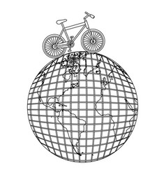 Monochrome contour of bicycle over the world map vector