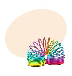 Retro 90s style rainbow colored plastic spring vector