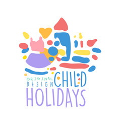 child holidays logo design colorful hand drawn vector image