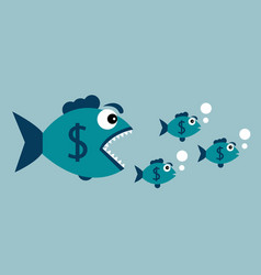Carnivorous fish with dollar vector