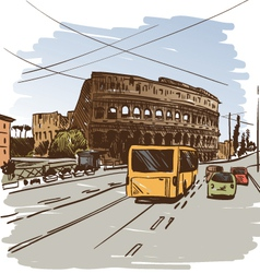 Rome cityscape drawing vector