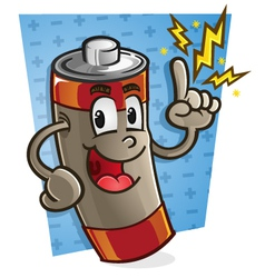 Battery Cartoon Character vector image