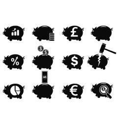 piggy icons set vector image