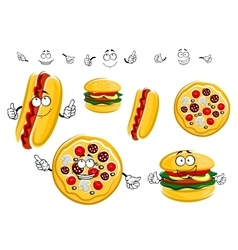 Cartoon isolated fast food characters vector