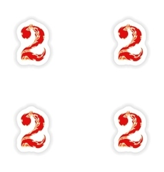 Assembly stickers fiery font red number 2 on white vector