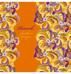 Orange peacock feathers pattern background text vector