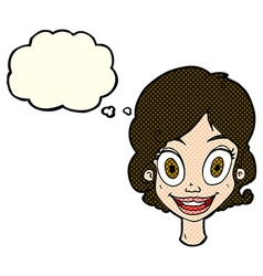 Cartoon happy woman with thought bubble vector