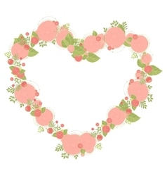 Floral heart shape wreath made of asters vector