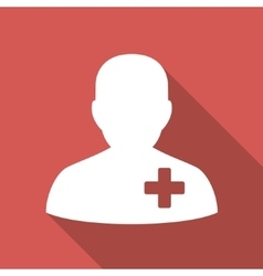 Medical volunteer flat square icon with long vector