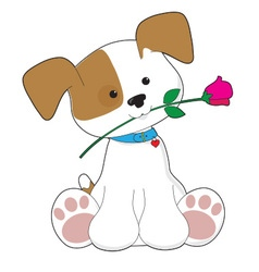 Cute puppy with rose vector