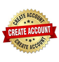 Create account 3d gold badge with red ribbon vector