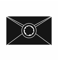 Envelope with wax seal icon simple style vector