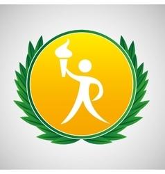 athlete burning torch symbol label laurel wreaths vector image
