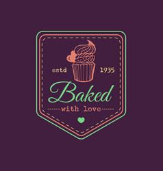Baked with love vintage cupcake logo vector