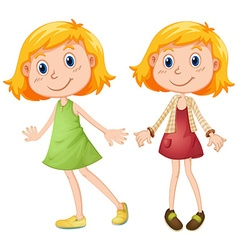 Blond girl in two costumes vector image
