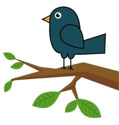 Blue bird on a tree branch vector image