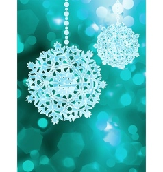 Blue snowflake over bokeh background EPS 8 vector image vector image