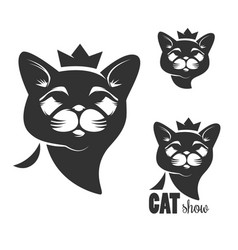 cat head icon with crown isolated on white vector image vector image