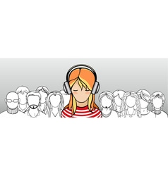 Crowd of people with one stand out vector