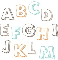 Cute hand drawn font letters set A-M vector image