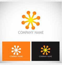 dot star shine connect logo vector image vector image