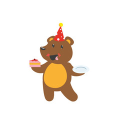 Flat bear character eating piece of cake vector