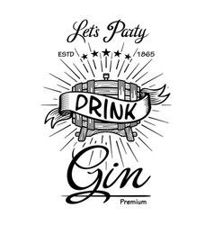 Gin label vintage hand drawn border typography vector