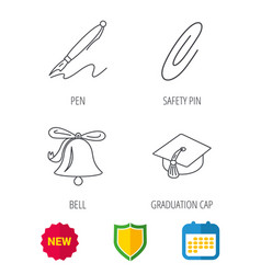 Graduation cap pen and bell icons vector