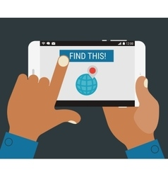 Hand pressing find a place button on mobile device vector