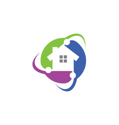 Home circle protect technology logo vector