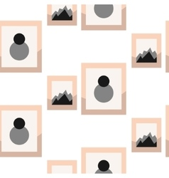 Images in frameson wall seamless pattern vector