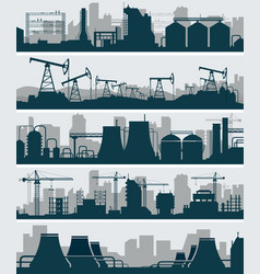 industrial skyline set vector image vector image