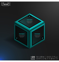 Isometric infographic with blue cube vector