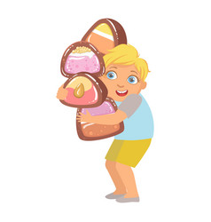 little boy carrying big heavy candies a colorful vector image