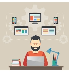 Man software engineer concept with design vector image vector image