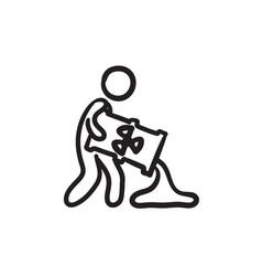 Man with oil barrel sketch icon vector