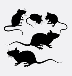Mouse and rat animal silhouette vector